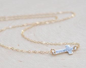 Sideways Cross Two Tone Necklace in Sterling Silver and 14K Gold Fill, Silver Gold Cross Necklace, Hammered Cross, Christian Jewelry