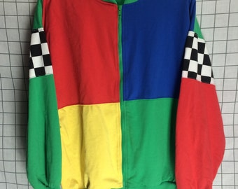 Vintage Color Block Checkered Print Zip Up Jacket