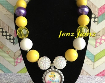 Cinderella Boutique Bottlecap Yellow and Purple  Chunky Beaded Bubblegum Necklace Baby Toddler Girl Disney World Inspired
