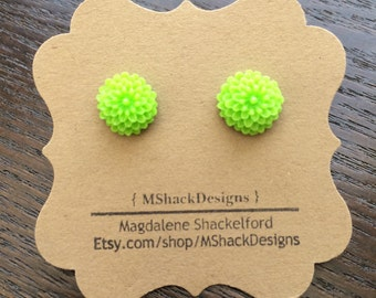Small Lime Green Dahlia Stud Earrings