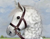 Dapple grey hobby horse stick horse leather bridle top quality. For children or collectors