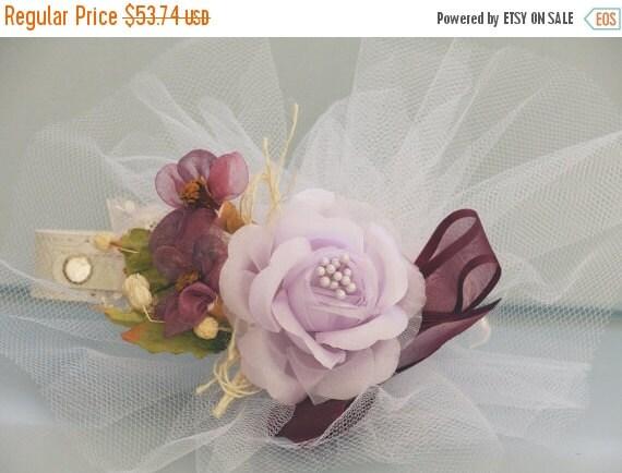 Purple Wedding Dog Collar, White Leather Collar with Purple flowers, Unique Wedding Dog Collar