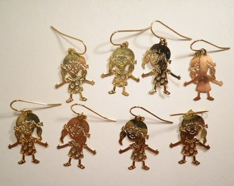 4 Pairs of Goldplated Little Girl Earrings