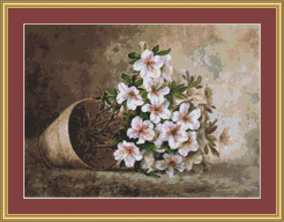 White Azaleas In A Flower Pot Cross Stitch Pattern /Digital PDF Files /Instant downloadable