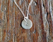Personalized, hand-stamped, sterling silver disk, initial, necklace, choose your letter & type style - Typewriter shown