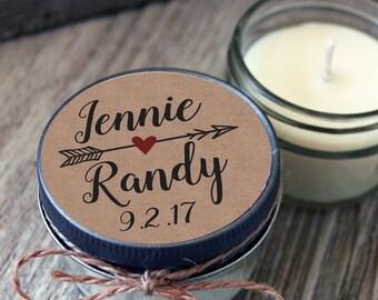 Set of 12 - 4 oz Kraft Wedding Favor - Candle Favors // Kraft Wedding Candle // Kraft Favor Candle