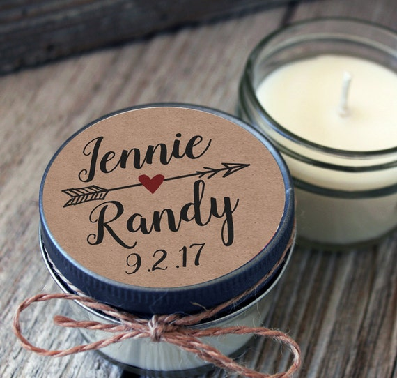 Set of 12 - 4 oz Kraft Wedding Favor - Candle Favors // Kraft Wedding Candle // Kraft Favor Candle