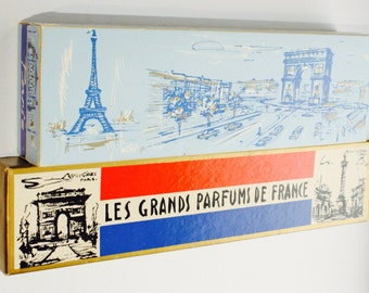 17 piece-Vintage les grands parfums de France - perfume lot- miniatures -paris-parfum-vintage vanity lot