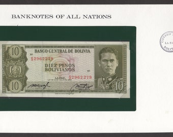 Franklin Mint Banknotes of all Nations Bolivia 10 Pesos Bolivianos