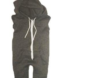 Hooded sweatshirt romper