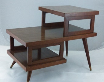 Mid Century Side Table / step table /tiered table