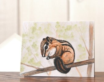 Chipmunk stationery, personal stationery set, gardener notecards, watercolor chipmunk notecards, art reprint, bird lover joke card