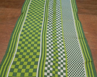 Green scarf checkerboard - Vintage Echo scarf - long