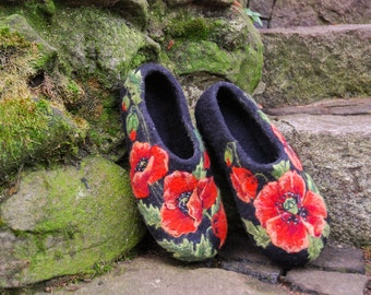 Felted Slippers - Red Poppies