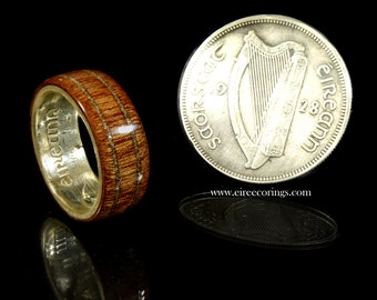 Wood wedding band rings for men featuring the Irish silver half crown.