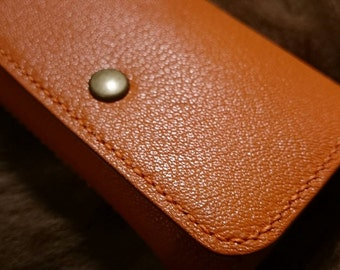Hermes goat + vegetable tanned leather coin purse