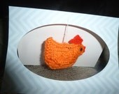 Hand Knitted  Chicken Card for Birthdays