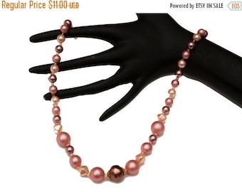Pink Graduated Bead Necklace mid century