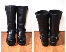 Size 7 1/2 Black Leather Harley Davidson Boots Women's Black Biker Boots Vintage Leather Motorcycle Boots Black Harness Boots