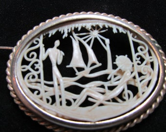 CELLULOID silhouette PIN vintage 1930's Depose France in oval gold tone frame Jd2-148