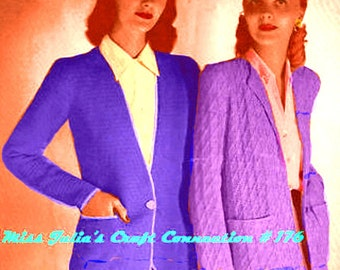 Almost FREE Vintage 1945 Two Easy Classic Jackets 176 PDF Digital Knit Pattern