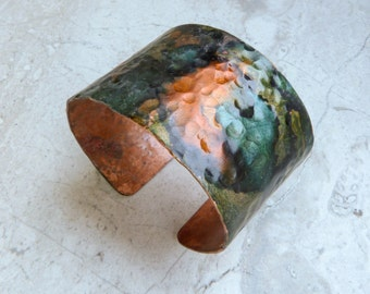 Hammered Copper Cuff Bracelet with Orange, Blue, and Green, Handmade