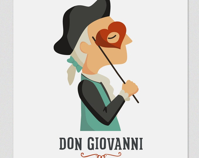 Illustration. Don Giovanni. Print. Wall art. Art decor. Hanging wall. Printed art. Decor home. Gift idea. Sweet home. singer