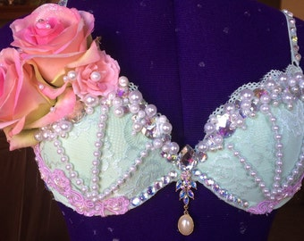 Pink and Teal Rave Bra