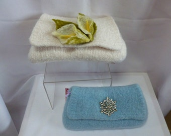 Felted Purse, Hand knit Felted Wedding or Evening Clutch, Hand knit Felted Wedding Purse,