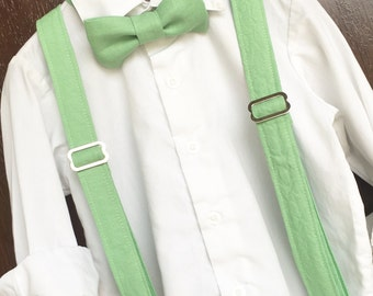 Green Suspenders with Solid Green Linen Bowtie Bow Tie - Baby / Toddler / Child