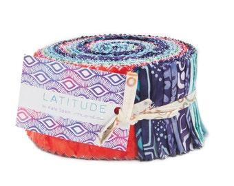 LATITUDE BATIKS - Jelly Roll by Kate Spain for Moda - 27250JR - Blue - Red - Pink - Purple - Grey