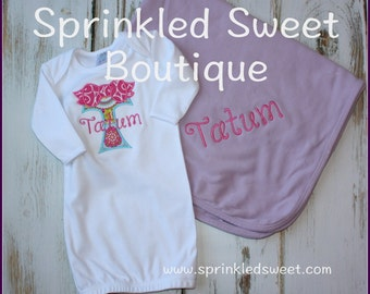 Monogram Bow Baby Gown And Blanket Set Sweet Girls Take Home Outfit Layette