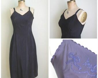 Vintage Blue on Black Corette Full Slip
