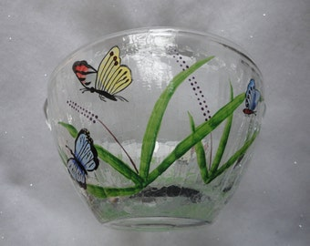 Vintage Hand Painted Clear Glass Basket with Handle Butterflies Hand Painted Basket Summertime Glass Handle Basket Wedding Basket
