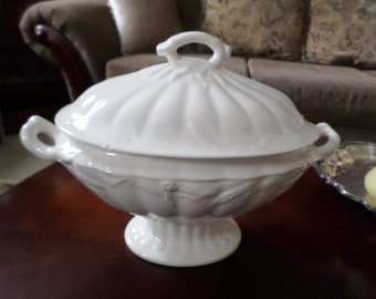Antique Wilkinson England White Embossed Soup/Serving Tureen and Lid-Holiday/Thanksgiving/Christmas Serving