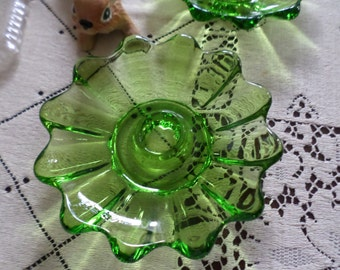 Two Vintage Green Depression Glass Taper Single Candlestick Holders