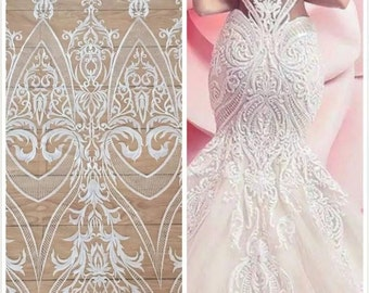 Ivory Bridal Lace, Ivory Lace, Embroidered Tulle, Ivory Embroidery, Lace Fabric (C9)