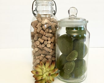 Vintage Glass Canning Jar filled with  Corks