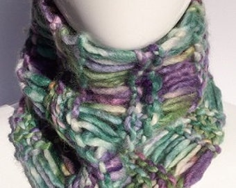Chunky Cowl Scarf, Warm Cowl, Cozy Cowl, Hand Knit, Drop Stitch, Cowls, Women's Gifts, Green, Purple, Wool, Christmas Gifts