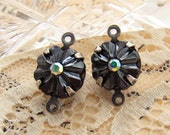 Vintage Black Hematite Flower Stone with AB Crystal Rhinestone Center Antiqued Silver Connectors - 2