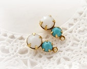 Petite Rhinestone Duo Drops White Alabaster & Turquoise Faceted Swarovski Crystal Drops Dangles – 2