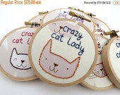CLOSING SALE - Crazy Cat Lady Embroidery Hoop - Fun Cute Kitty Animal Lover Home Decor or Christmas Ornament