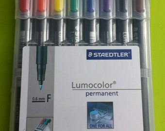 Staedtler Lumocolor Permanent Pens 8 Colors .6mm Fine