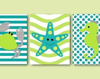 Bathroom Art Crab Starfish Seahorse Decor Baby Nursery Decoration Kids Decor Kids Wall Art Kids Room Decor set of 3 Green Gray Teal /