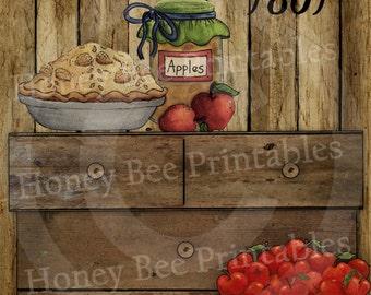 Primitive Autumn Fall Apple Harvest Basket Pie Jelly #2- 8x10 Instant Folk Art - Card Making -  Instant Download - JPEG - U Print