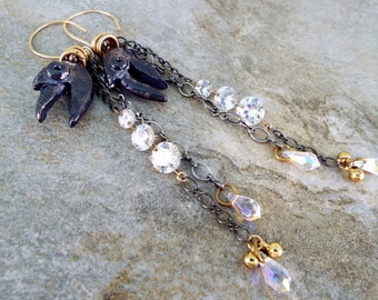 Long Shiny Objects Crow Earrings Scorched Earth Components and Lots of Bling