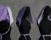 "Victorian XXL hood singel, ""Purple with white silk"", eco friendly design, wedding, Solmode"