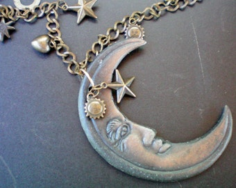 Crescent moon & celestial charm necklace, Recycled jewelry, Handmade jewelry, Repurposed jewelry, Upcycled, Free USA shipping,Made in USA/MI