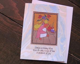 Simple Birthday Bliss -- ORIGINAL hand-drawn birthday card, blank inside, haiku, suminagashi (#BTH001) (#2)