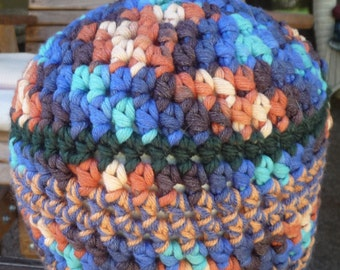 Colorful chunky crochet beanie hat Orange Blue Aqua thick